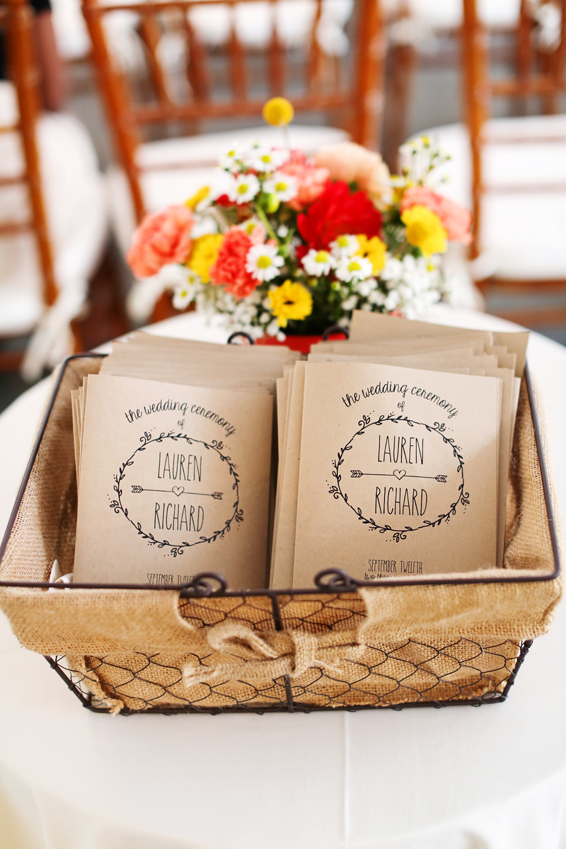 Craftpaper wedding programs. Wedding at the Comus Inn at Sugarloaf Mountain. Photos by Jalapeno Photography.