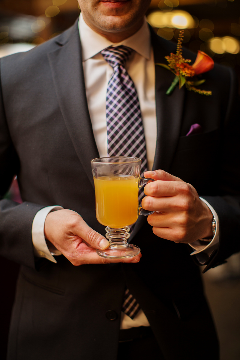 Mulled cider at Cassie and Phil's Bluemont Vineyard wedding just outside of Washington, DC. The wedding photographer was Jalapeno Photography.