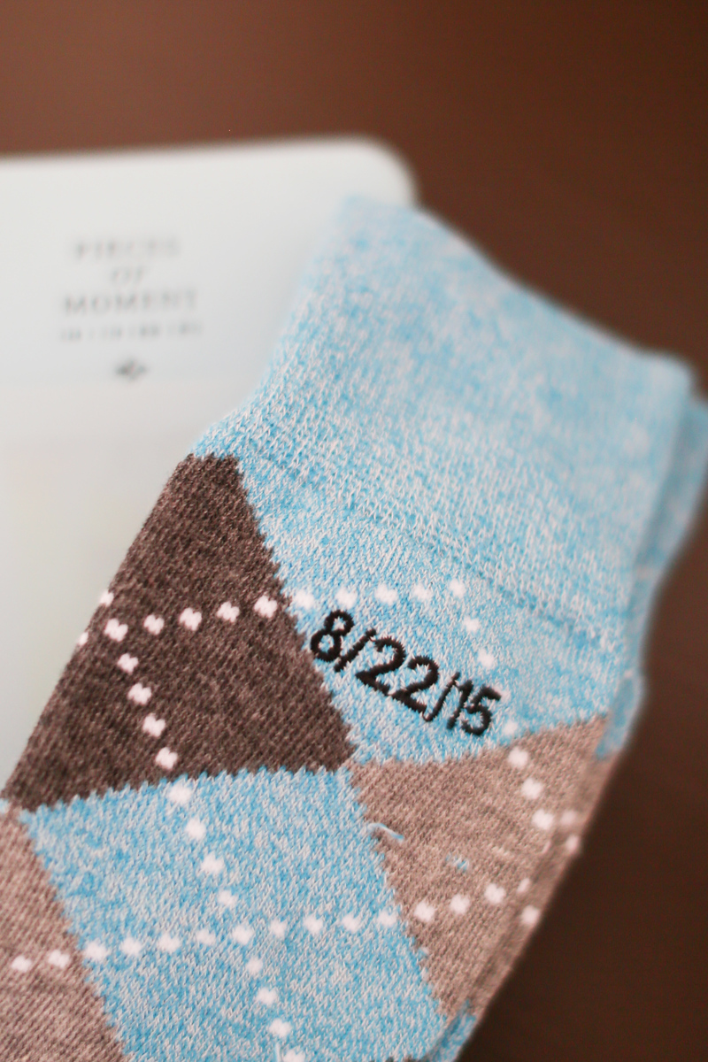 Custom embroidered groomsmen socks for this Washington, DC wedding at the Josephine Butler Parks Center.
