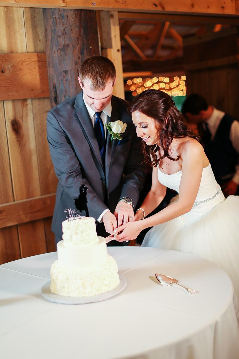 Cake cutting at Robin Hill Farm and Vineyard wedding reception. Elegant barn wedding by Jalapeno Photography.