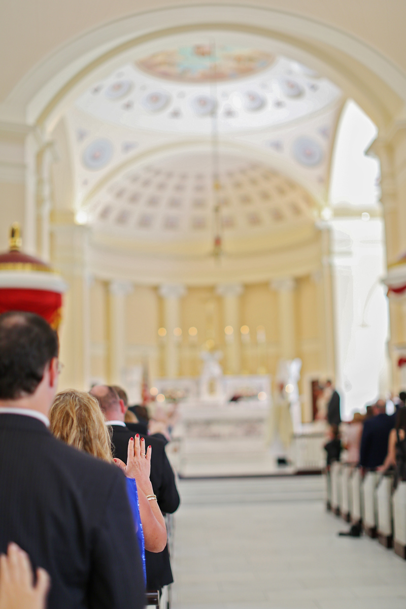 The community blessing at Caroline and Justin's wedding at the Basilica of the National Shrine to the Assumption of the Blessed Virgin Mary in Baltimore.