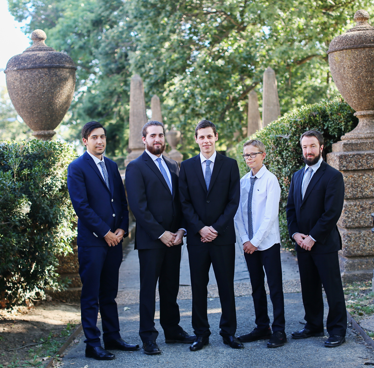 Washington, D.C. groomsmen before the wedding at the Josephine Butler Parks Center.