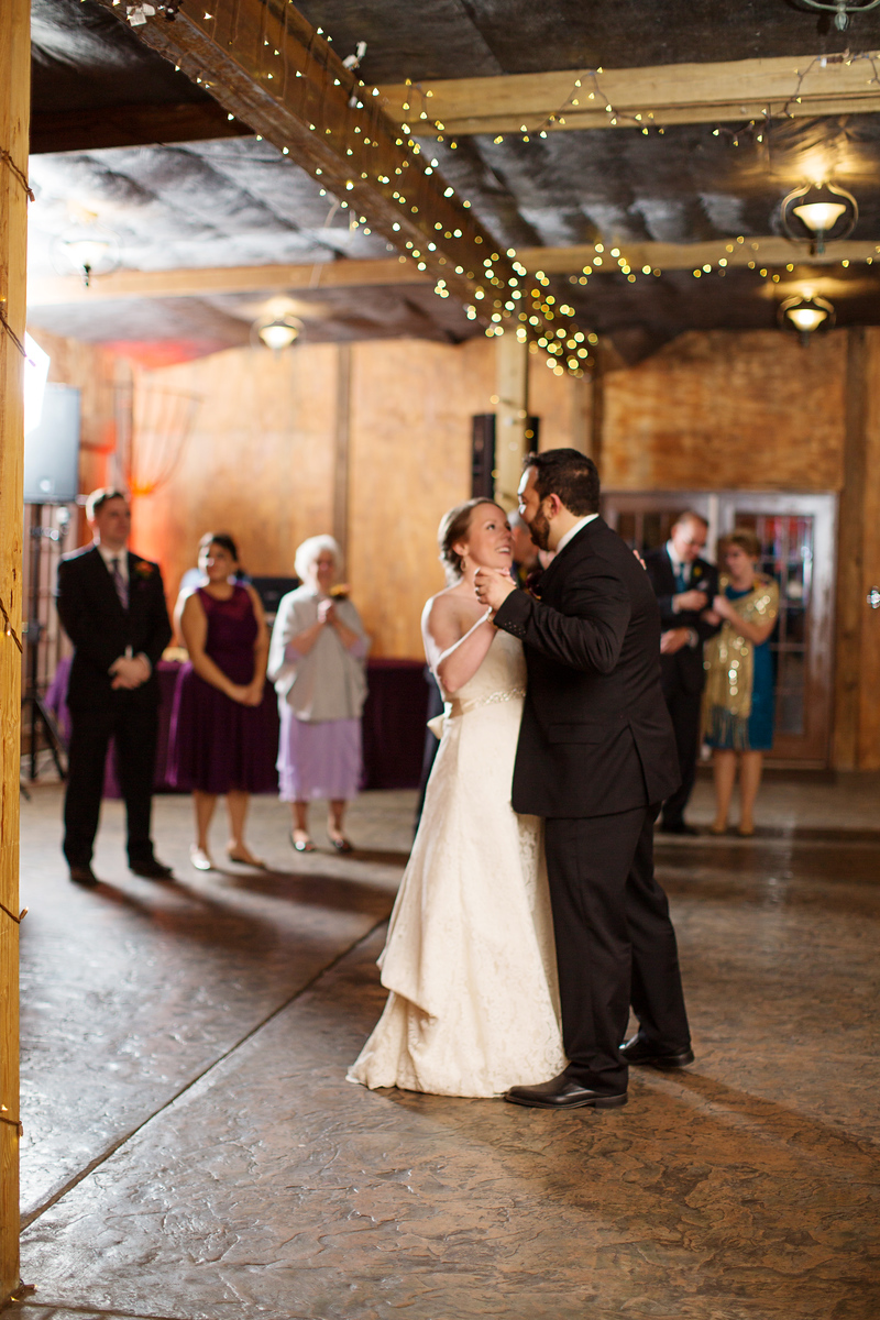 Cassie and Phil's first dance at their Bluemont Vineyard wedding in Bluemont, Virginia. Jalapeno Photography was the DC area wedding photographer.