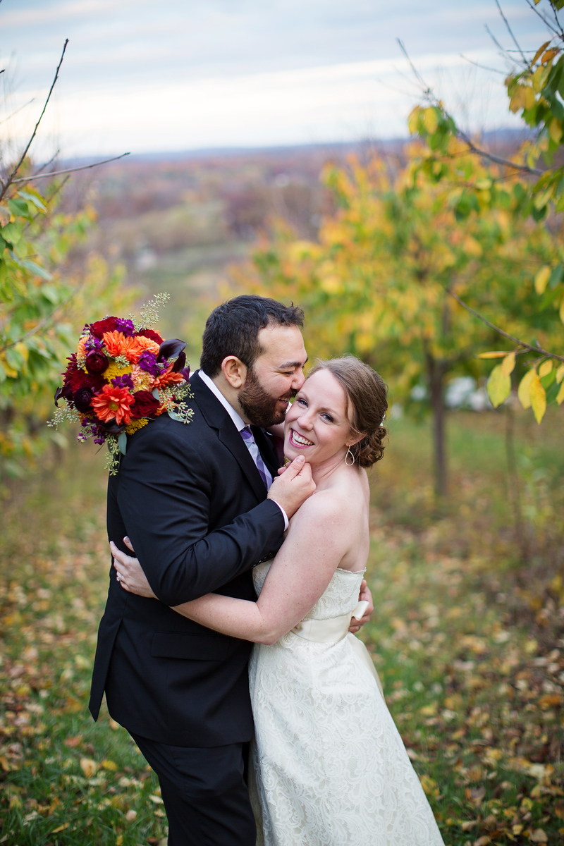 Cassie and Phil's Bluemont Vineyard wedding. The wedding photographer was Jalapeno Photography.