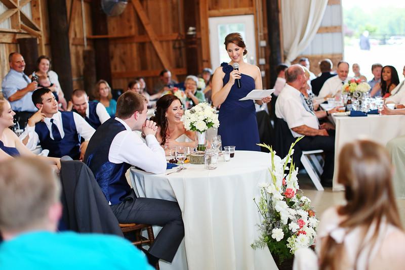 Maid of Honor toast at Robin Hill Farm and Vineyard. Barn wedding photos by Jalapeno Photography.